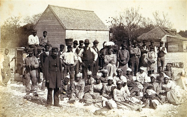 Slaves of Thomas F Drayton of Magnolia Plantation, Hilton Head, South Carolina, 1862. During the American Civil War,